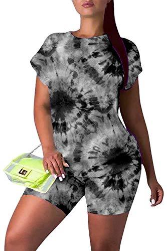 Viottiset dames korte mouwen joggingpak tweedelige sportbroek set contrasterende batik-design