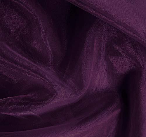 mds Organza-Stoffbolzen für Brautkleid, Mode, Handwerk, Dekoration, seidig glänzend, 111,8 cm, Dunkelviolett