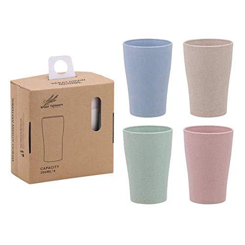Kuinayouyi Vaso Taza Biodegradable Paja de Trigo Saludable Y Amigable con El Medio Ambiente, para Agua, Café, Leche, Jugo, Té (4 Piezas)