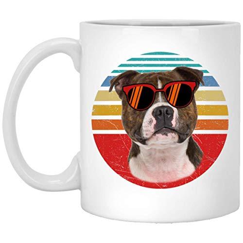 N\A Funny Staffordshire Bull Terrier - Taza de café Retro con Puesta de Sol de Perro Tricolor, 11 oz