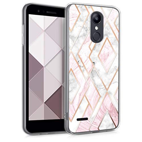 kwmobile Hülle kompatibel mit LG K8 (2018) / K9 - Hülle Handy - Handyhülle Glory Mix Marmor Rosegold Weiß Altrosa