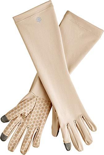 Coolibar UPF 50+ Unisex Bona UV Mid Length Gloves - Sun Protective (Medium- Beige)