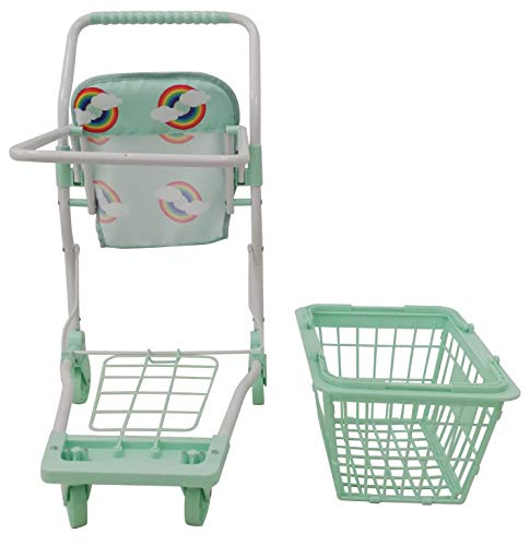 Roma Rupert Toy Shopping Trolley Suitable from 24 months - mint Roma The Rupert shopping trolley measures 62cm from the floor to the handle. Removable Shopping basket Available in primrose or mint - Unique Rainbow Design 9