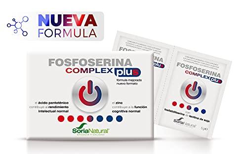 Soria Natural - FOSFOSERINA COMPLEX PLUS - FORMULA MEJORADA - Complemento alimenticio - Mejorar el rendimiento y la atención - 28 sobres - Potencia memoria - producto derivado de la lecitina de soja