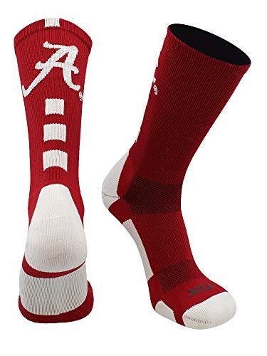 TCK Alabama Crimson Tide Baseline Crew Socks (Crimson/White, Large)