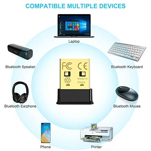 1mii Nano USB Bluetooth Adapter PC(2 Stück), Bluetooth 5.0 EDR Dongle, Bluetooth Stick Sender für PC Laptop Desktop Computer, unterstützt Windows 7/8/10