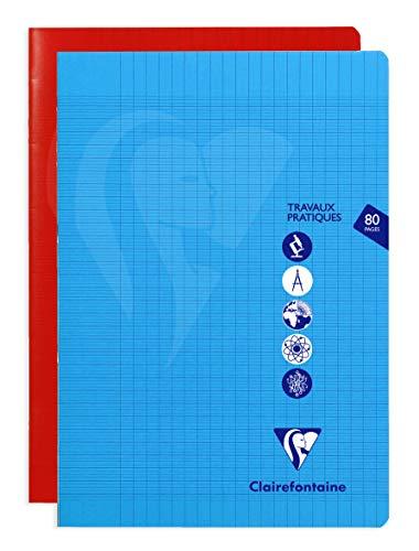 Clairefontaine 303167C – Cuaderno de trabajo práctico piqué Mimesys 21 x 29 cm, 7 cm, 80 páginas grandes, cuadros y lisos, tapa de polipropileno, color aleatorio