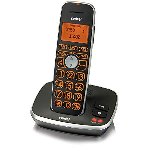 Switel D150 Vita Comfort DECT Senioren-Telefon mit Anrufbeantworter, große beleuchtete Tasten und Display, hörgerätekompatibel und extra lauter Klingelton