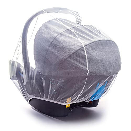 Mosquitera de bebé para cochecitos de bebé, portabebés, asientos de coche, moisés, blanco, transpirable, portátil y duradero, malla de protección ultra fina