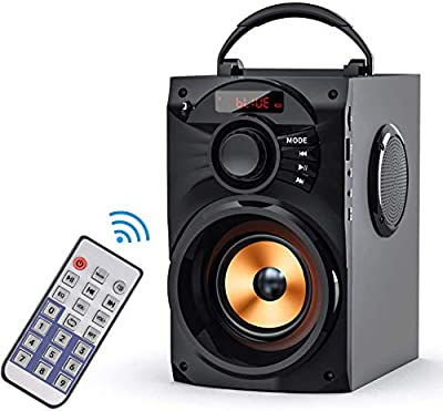 KATPOSIN Portable Bluetooth Speakers Subwoofer Heavy Bass Wireless Outdoor/Indoor Party Speakers Support Remote Control FM Radio TF Card LCD Display for Home Party Phone Computer PC (B1) (Black) from KATPOSIN