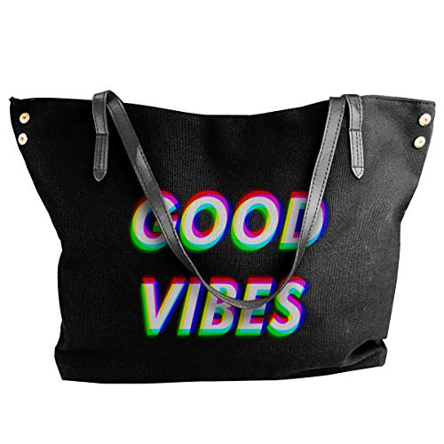 XY Shop Good Vibes Is Positive Feelings Women's Tote Bags Canvas Shoulder Bag Hanbag