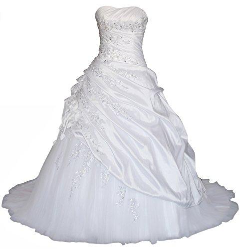 Romantic-Fashion Brautkleid Hochzeitskleid Weiß Modell W070 A-Linie Lang Satin Trägerlos Perlen Pailletten DE Größe 46