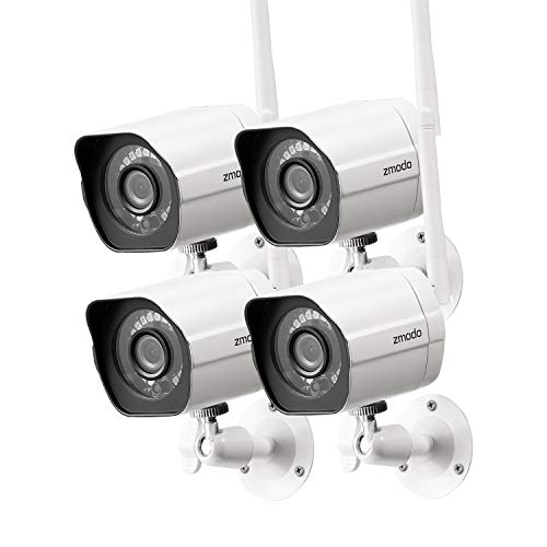 Zmodo Outdoor Security Camera (4 Pack), 1080p Full HD Wireless Cameras for Home Security with Night Vision, Cloud Service Available, White (ZM-W0002-4)