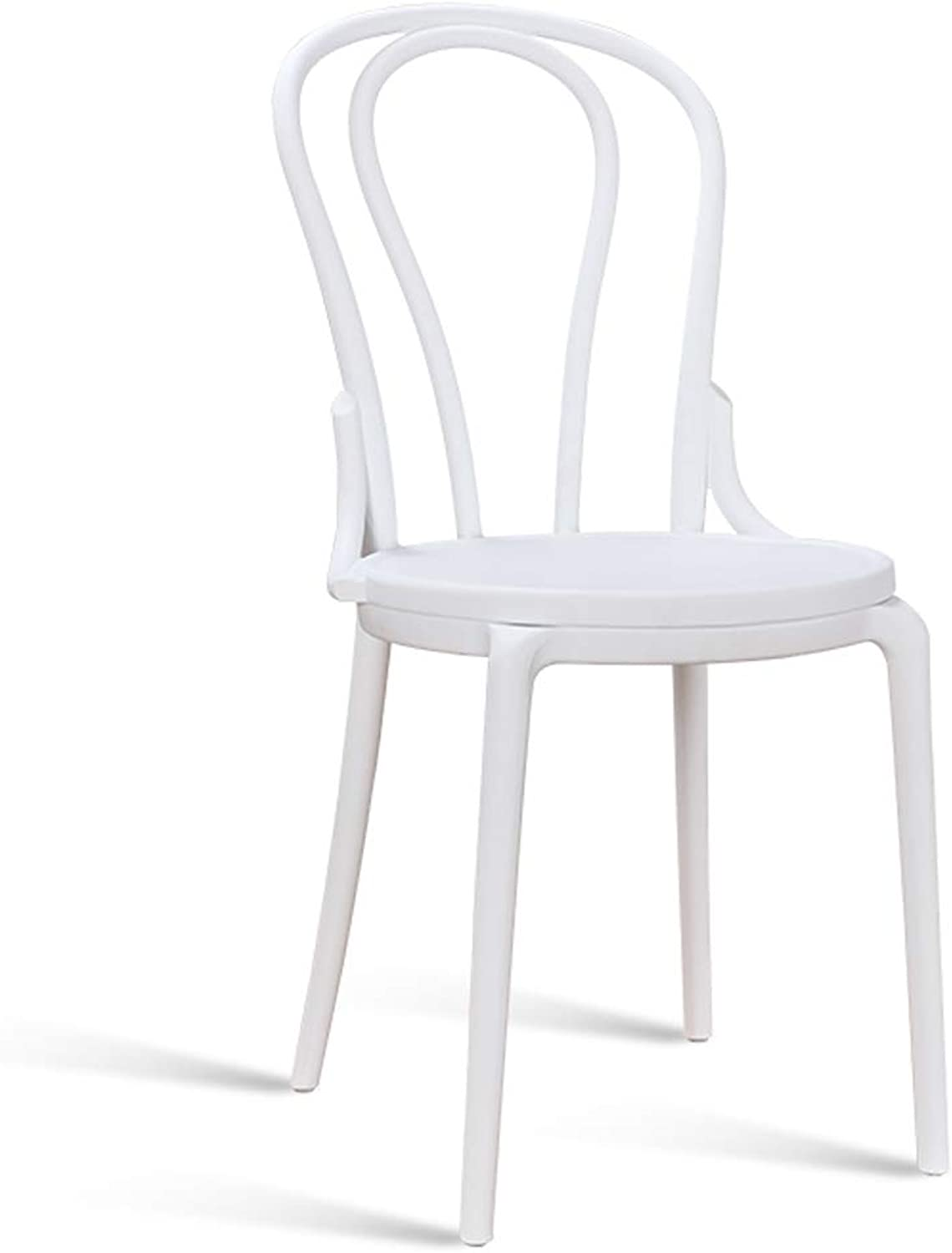 LRW Simple Pastoral American Leisure Creative Dining Chair, Fashionable Coffee Shop, Plastic Backrest Chair, White