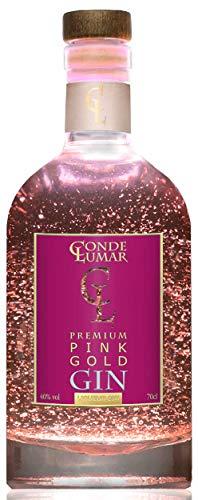 Gin Pink con Oro 23k - Premium Liqueur - Fresa y Frutos Rojos - Gin Tonic Para Regalar - 15 Botánicos 5 Destilaciones - Botella y Certificado del Oro - Sin Caja de Regalo - 40% vol 70 cl
