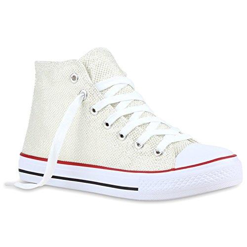 Damen Sneakers Glitzer Sportliche Sneaker High Freizeit Turn Trainers Sport Schnürer Schuhe 118820 Creme 40 Flandell