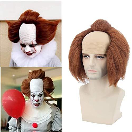 Topcosplay Peluca de Payaso Clown, Corta Peluca Marrón para Hombre, Peluca Calva Peluca con Cabeza Calva para Disfraz de Halloween Carnaval
