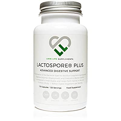 LactoSpore® (Bacillus Coagulans) Plus by LLS | Probiotics | 15 Billion CFU/g | 120 Capsules - 4 Month Supply | Includes Digestive Enzymes and Prebiotic Inulin | UK Made Under GMP Certification