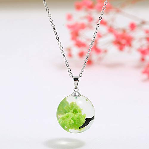 Aoten Women's Necklace LED Luminous Transparent Pendant with 3D Sky Charm Crystal Resin Ball Party Wedding Jewelry