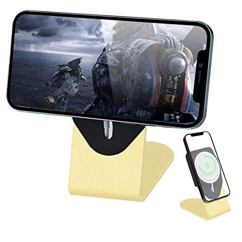 BASYNOL MagSafe - Soporte Magsafe para teléfono móvil Magsafe, aleación de aluminio, compatible con iPhone 12 Pro Max 12 Mini, color dorado (no cargador Magsafe)