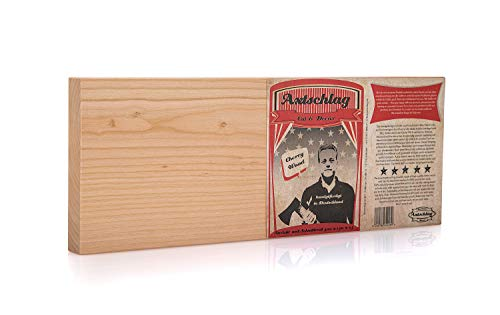 Axtschlag Schneidebrett, edles Kirschholz, 400x150x25 mm, hochwertiges massives Holz, rutschfest, pflegeleicht, Küchenbrett beidseitig verwendbar