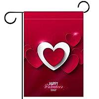 ガーデンヤードフラッグ両面 /12x18in/ ポリエステルウェルカムハウス旗バナー,幸せなバレンタインデーの赤い愛