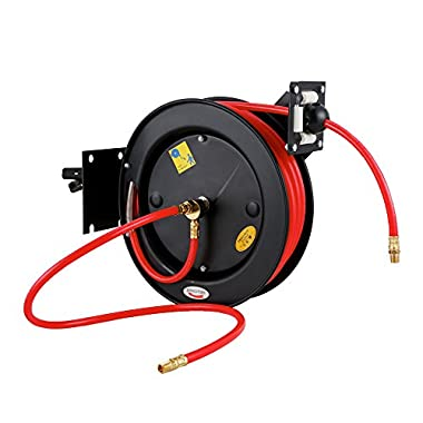 FCH 50 Feet Steel Air Hose Reel Auto Rewind Retractable Compressor Water Hose 3/8-Inch Rubber Hose Maximum Pressure 300 PSI