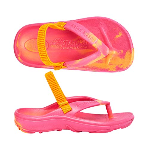 STARFISH KIDS: Sandals for Kids, Orthotic Sandals with Arch Support, Beach Flip Flops Unisex, Helps with Plantar Fasciitis, Heel Spurs & Circulation, Orange/Fushcia