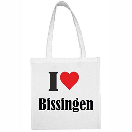 Tasche I Love Bissingen Größe 38x42 Farbe Weiss Druck Schwarz