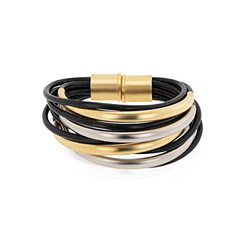 NIEVOS JEWELRY Pulsera de latón chapado en oro de 24 quilates chapado en oro de 24 quilates, pulsera de cuero con imán de cuero, multi,