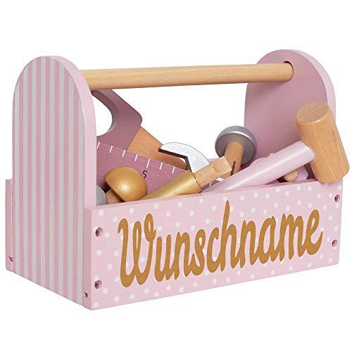 Elefantasie Werkzeugkoffer aus Holz mit Namen graviert rosa