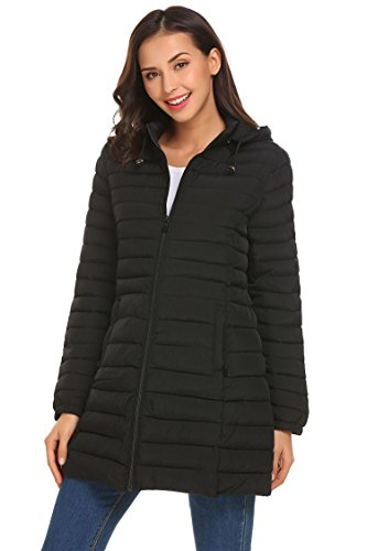 SE MIU Women Packable Winter Puffer Down Jacket Black M