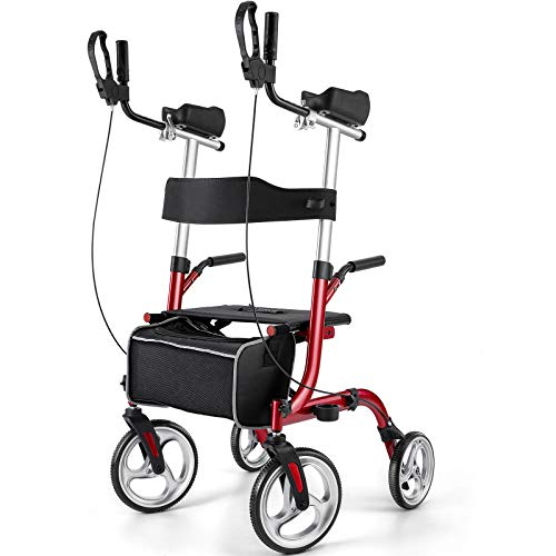 """Rinkmo Rollator for Seniors and Adults Stand Up Folding Rollator with Seats and 10"""" Wheels, Padded Armrest and Backrest, Tall Rolling Mobility Aid with Basket"""