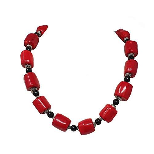 Collana TreasureBay con coralli rossi naturali, agata nera da 8 mm e perline tibetane argentate, lunga 52 cm, peso 145 g, in confezione regalo