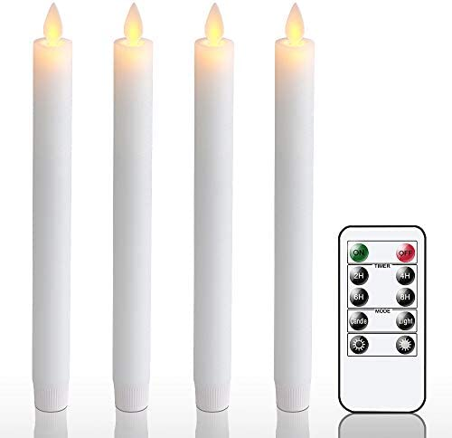 Wondise Moving Wick Flameless Window Taper Candles with Remote Timer 9 5 Inches Battery Operated product image