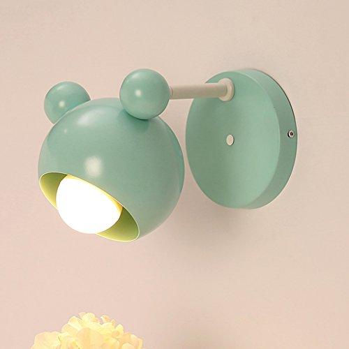 Applique murale mignonne lampe de couloir lampe murale de chambre d'enfant lampe de chevet de chambre de dessin animé garçon et fille lampe enfant de couleur enfant A+ (Color : Green)