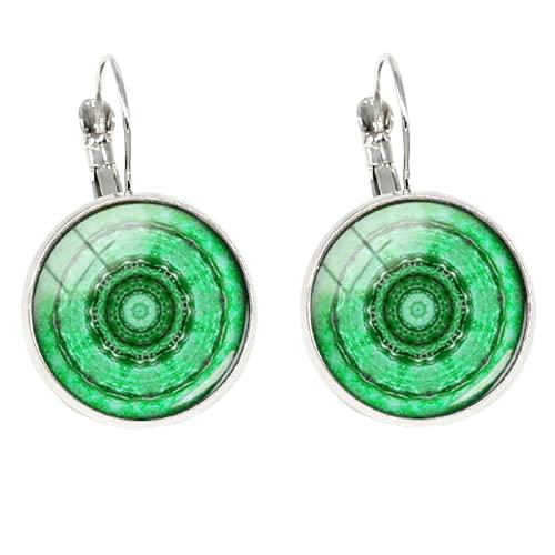 Mandala peridoto clip en Pendientes aro verde joyería brincos grandes moda para mulheresMujer accesorios