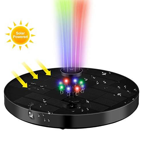Solar Springbrunnen mit LED Beleuchtung, 6V3W Solar Teichpumpe mit 1200mAh Batterie, Garten Solar Wasserpumpe Solar Schwimmender Fontäne Pumpe mit 4 Düse, für Springbrunnen Teich Vogel-Bad Aquarium
