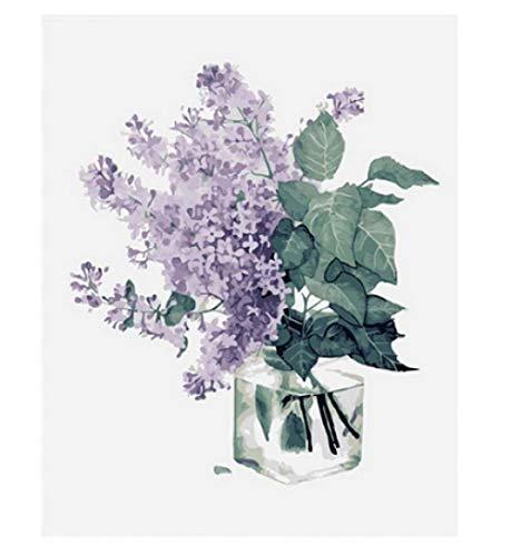 Bloemen en bladeren groen paars in glazen fles digitaal canvas olieverfschilderij DIY voor kinderen volwassenen beginners decoratie geschenken bruiloft verjaardag nieuw onderwijs