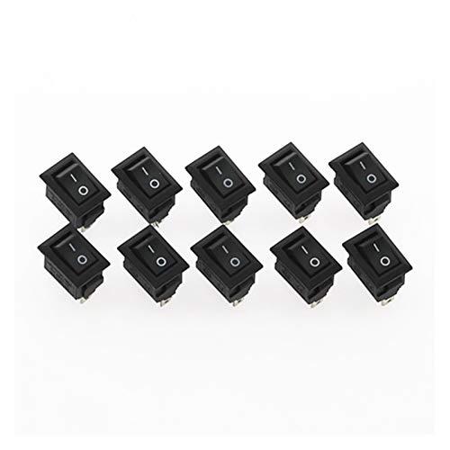 DONGMAISM Interruptor basculante 10 unids pulsador Interruptor 10x15mm SPST 2PIN 3A 250V KCD11 Encendido/Apagado del Interruptor de balancín de 10 mm * 15 mm Negro Rojo y Blanco (Color : Black)