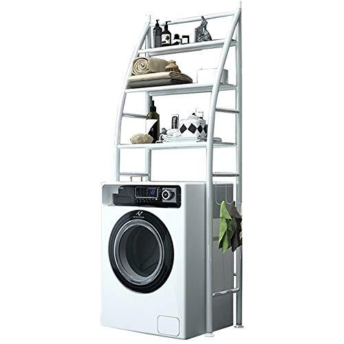 Opbergkast voor badkamer, badkamer, van metaal, wit, ruimtebesparend, 3 niveaus, voor wasmachine en droger, geschikt voor badkamer en andere