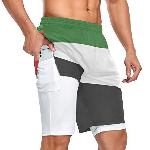 Palestine Flag - Pantalones cortos deportivos para hombre, 2 en 1, con bolsillos