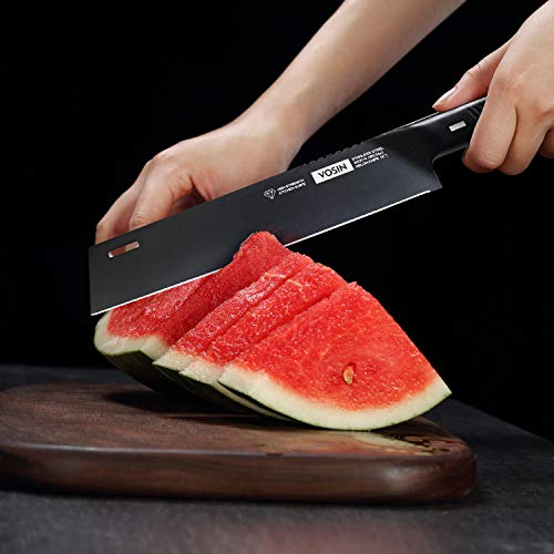 VOSIN Paring Knife Chef Knives Kitchen 7.9 Inch 3Cr13 Stainless Steel Knife, Razor Sharp Blade for Peeling, Slicing and Trimming, Fruit Carving Tool for Cutting Watermelon and Melon, Black