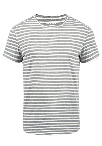 Blend Genesis Herren T-Shirt Kurzarm Shirt Streifenshirt Mit Streifen Und Rundhalsausschnitt, Größe:S, Farbe:Zink Mix (70815)