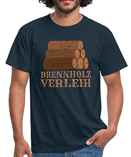 Spreadshirt Brennholz Verleih Feuerholz Männer T-Shirt, XL, Navy