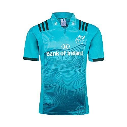 LQLD 2018-20 Irland Munster Rugby-Trikot, Männer Trainings Jersey Polo Shirt Kurzarm Tops Männer beiläufige Sport-T-Shirt Fußball-Kleidung,Blau,S