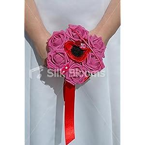 Red Anemone Poppy & Pink Roses Mini Posy Wedding Flowers