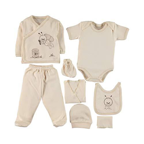 Huanger Ipeksi Baby Neugeborenen Baby Set 100% natürliche Baumwolle Erstausstattung Erstlingsausstattung Ausstattung Unisex Kleidung Geschenkset Babyausstattung mit 8 Teilig für Babys 0-4 Monate