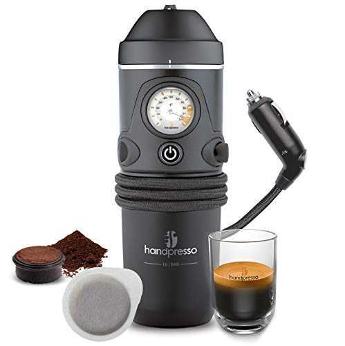 Handpresso 48261 Auto 12V (Zigarettenanzünder) schwarz - tragbare Espressomaschine für ESE-Pads oder gemahlenen Kaffee