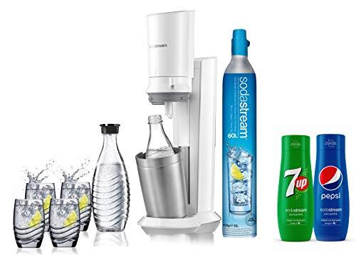 Sodastream pack spécial machine crystal en alu brossé gris/blanc+ 2 carafes en verre de 0.6L, 4...